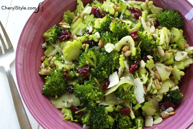 This super delicious light broccoli salad will send your taste buds into a frenzy—broccoli, sweet Craisins, tart dressing and salty Parmesan cheese—YUM!