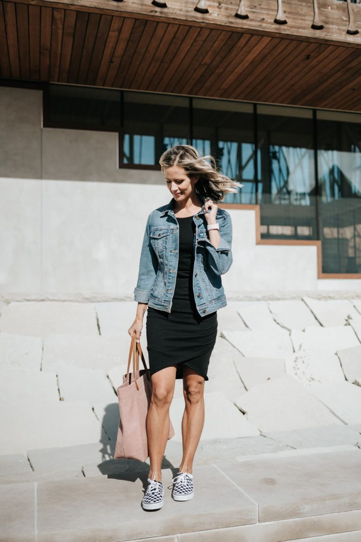 Urban Summer Night Outfit Black Dress Outfit Idea Vans Outfit Idea Off The Shoulder Jacket Idea Summer Night Outfit Black Dresses Casual Black Dress Outfits [ 1496 x 1122 Pixel ]