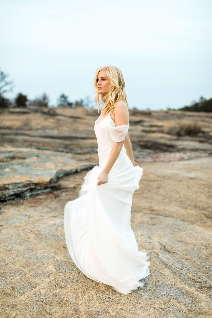 """Best Mountain Bridal Inspiration  . photographer: Rustic White Photography  / location: Arabia Mountain / stylist & planner: Taylor Dawn / floral designer: Ashley Killen, Amy Osaba Design / dress boutique: The Sentimentalist / dress designer: """"Hannah"""" from Leanne Marshall / hair & makeup: Claudia Mejerle / hair accessory: twigs & honey  / ring: Cumberland Diamond Exchange / modeling agency: Ursula Wiedmann Models / model: Hunter Anderson…"""