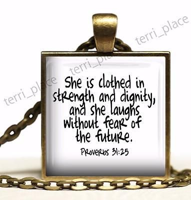 Proverbs 31:25 Religious Biblical Scripture Quote Hand-Made Pendant Necklace