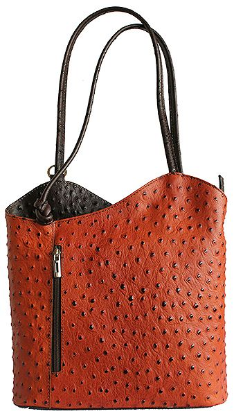 Multi-Way Tan/Dark Brown Ostrich Leather Shoulder Bag/Backpack