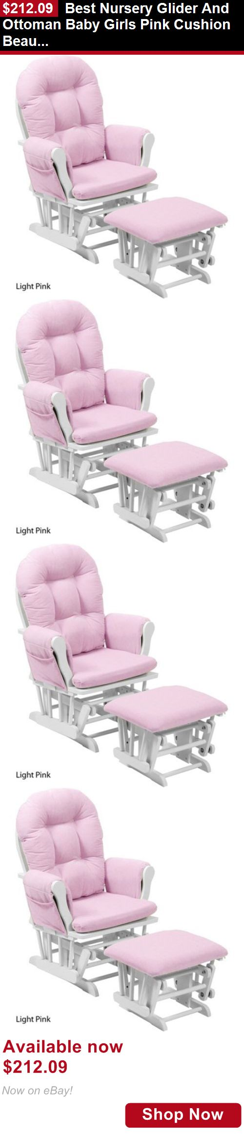 Rockers Gliders: Best Nursery Glider And Ottoman Baby Girls Pink Cushion Beautiful Comfortable BUY IT NOW ONLY: $212.09