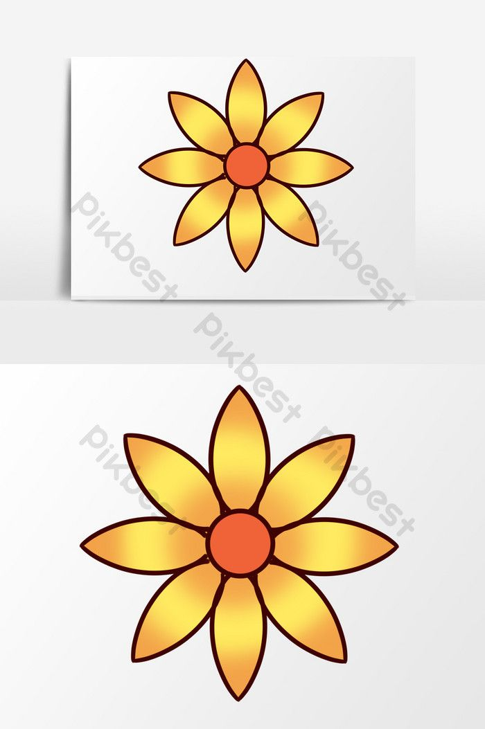 Hand Drawn Cartoon Small Clear Spring Gold Color Flowers With