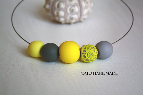 Polymer clay bead necklace.Grey yellow lace by GATOHANDMADE