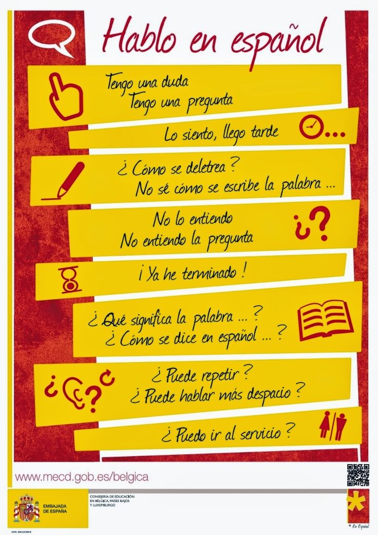 A poster of Spanish phrases to remember by  Website is a blog written in Spanish #fitness #TRX