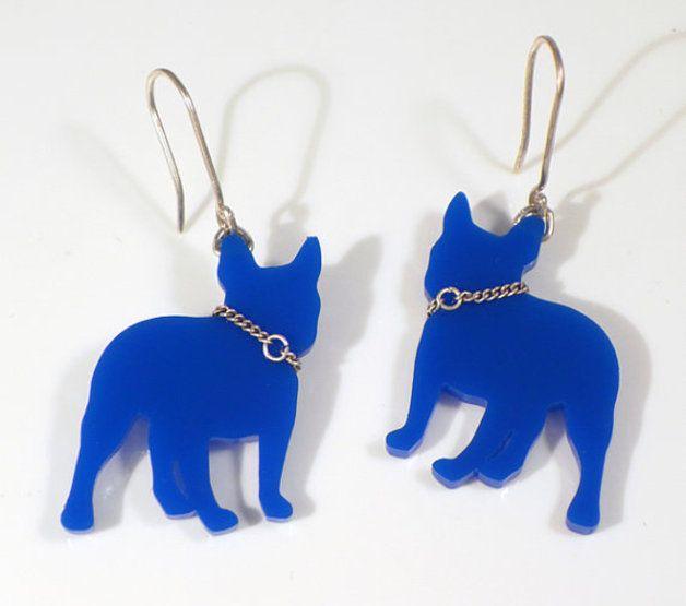 Kolczyki-French Bulldog - AgataFriedman - Biżuteria srebrna