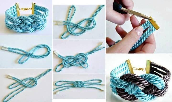 Pulsera o collar en nudo tejido en hilo de seda grueso o en cordón .