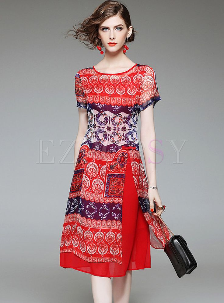 Shop for high quality Ethnic Floral Print Slit Short Sleeve Skater Dress online at cheap prices and discover fashion at Ezpopsy.com