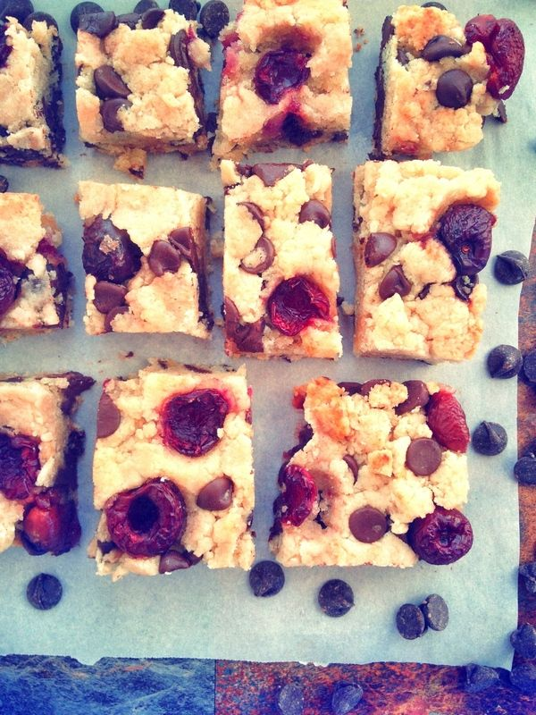Cherry Chocolate Chunk Blondies!!        2 Packed Cups of Blanched Almond Flour     1/2 Cup  Potato Starch     1/2 Cup Truvia (Or other granulated sugar of choice)     2 tsp Baking Powder     1/8 tsp Salt     2 Tbs Oil or melted butter (dairy or non-dairy)     3 Tbs Milk (dairy or non-dairy)     1 Cup Chocolate Chips (dairy or non-dairy)     1 Cup Cherries pitted and halved