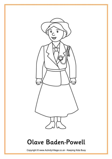Olave Baden-Powell colouring page for World Thinking Day