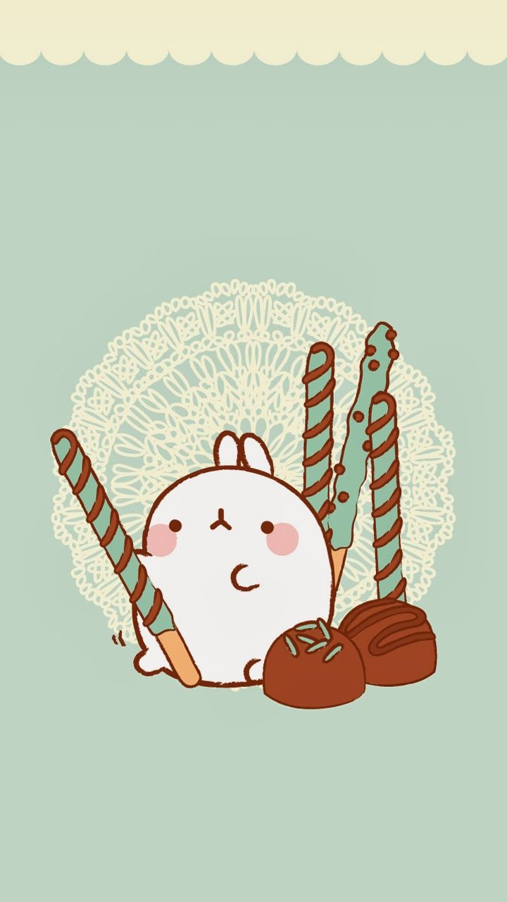 LeyWorldKawaii Wallpaper Molang, doily background,sweets