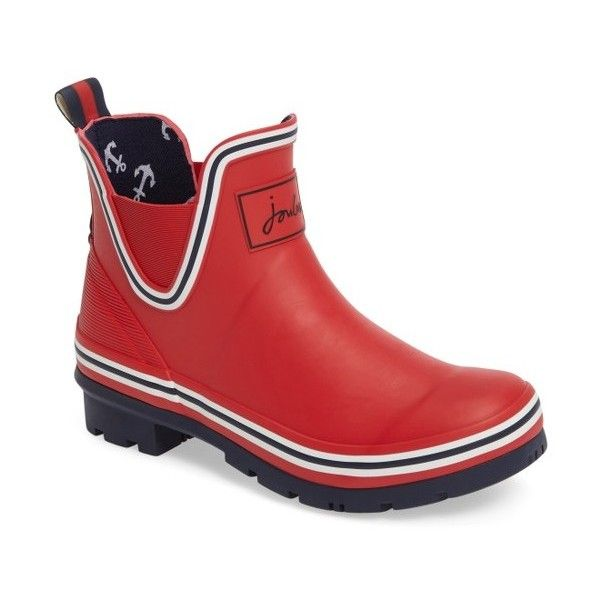 Women's Joules Seafarer Bob Short Rain Boot (4.005 RUB) ❤ liked on Polyvore featuring shoes, boots, london bus red, short boots, rubber boots, wellington boots, waterproof wellington boots and wellies boots