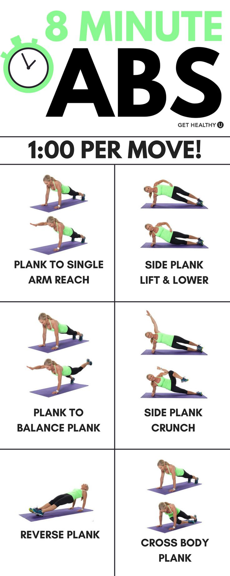 Check out this 8 minute plank challenge! This will help strengthen your core while sculpting beautiful abs! If you're looking for a great challenging ab workout, this is perfect for you!