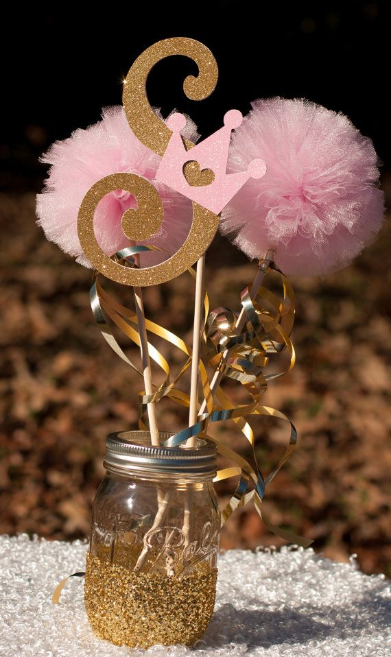 This Listing Is For A Custom Princess Centerpiece. Please Note Letter At  Checkout. You Will Receive: 1 Letter Stick Made From Glittery Gold Card |  Pinterest ...