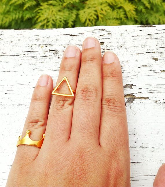Triangle Stack Ring Dainty Stacking Ring Gold Triangle Ring