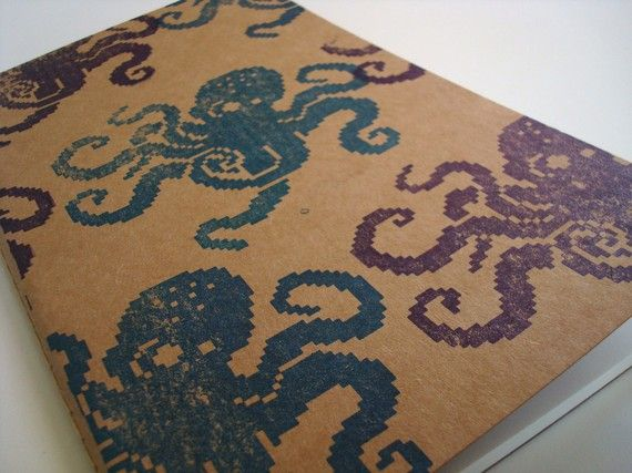 8 Bit Octopus Journal hand stamped with love :)