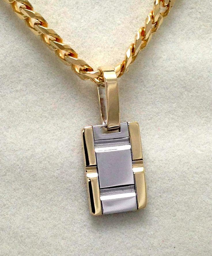 Two tone mens gold pendant