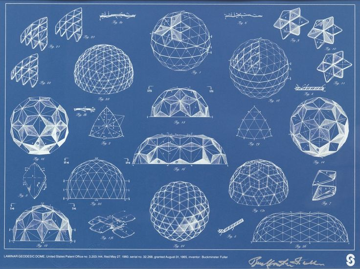 Blueprint, Buckminster Fuller geodesic dome patent drawing, 1965.