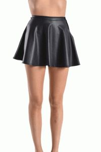 Faux Leather Skater Skirt In Black
