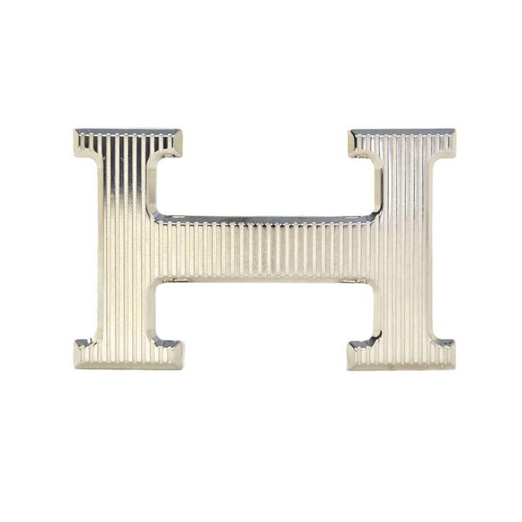 HERMES Palladium Ribbed H Belt Buckle | From a collection of rare vintage waist belts at http://www.1stdibs.com/fashion/accessories/waist-belts/