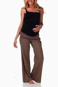 Mocha Linen Maternity Pants