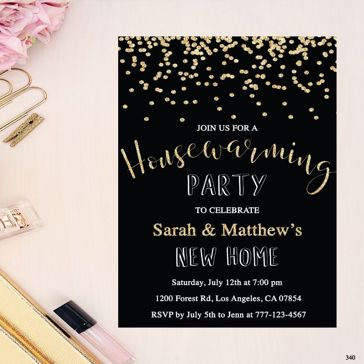housewarming party invitation, gold houserwaming invitation, new house invite, black housewarming invitation, moving invitation, confetti by Immanueldesign on Etsy https://www.etsy.com/au/listing/493796847/housewarming-party-invitation-gold