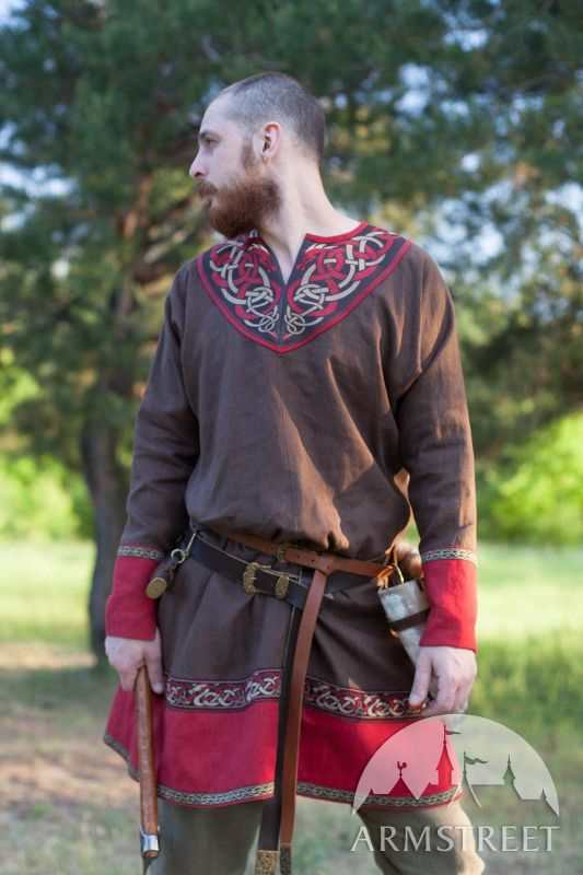 Linen Viking Tunic and Leather Belt with Molded Accents