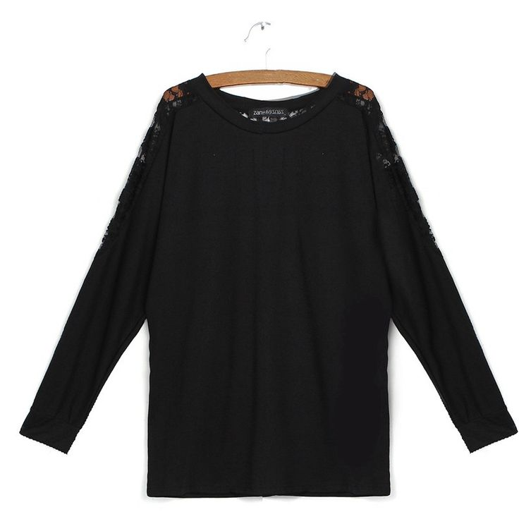 New Women Spring Autumn Blouse Long Batwing Sleeve O-Neck Casual Loose Lace Patchwork Shirt Tops Blusas Feminina