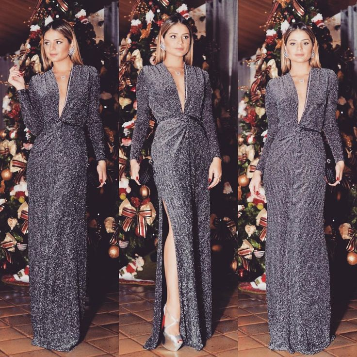 #lurexmania Thassia Naves com vestido longo em lurex preto com prata com fenda…