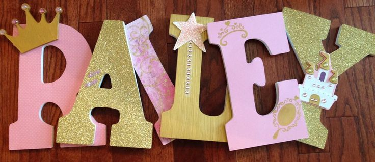 LyricalExpressions https://www.etsy.com/listing/244210225/princess-themed-letters-pink-and-gold