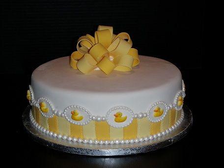 """Ducky Cake - 3-layer 12"""" cake. Dark chocolate cake with raspberry filling, white chocolate buttercream and white chocolate fondant. Yum!"""