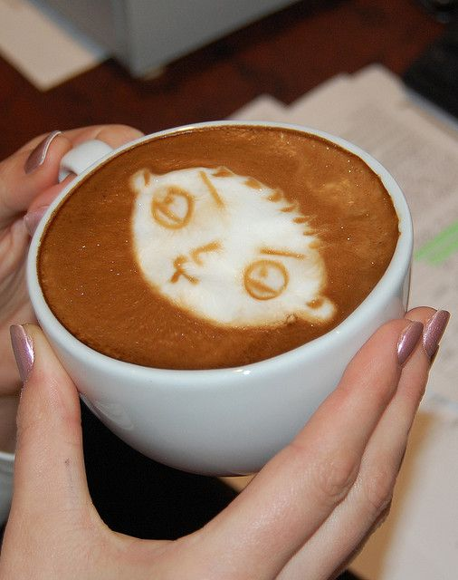 Latte - Coffee Art - Stewie from Family Guy. If you practice long enough you can do this with Gourmesso capsules | Photo by flickr user Mentness