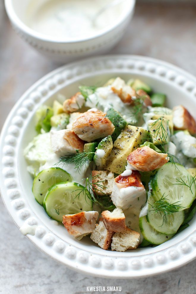 Chicken, Avocado and Cucumber Salad. Great for kids that don't like salad greens.