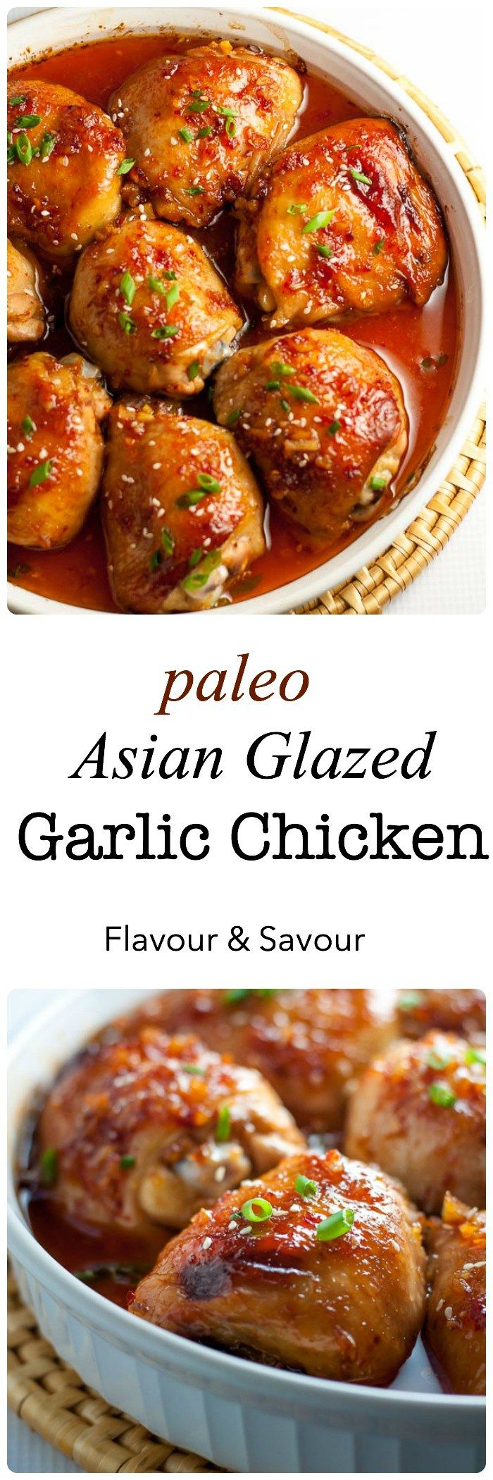This Paleo Asian Glazed Garlic Chicken is so easy! Tender, juicy chicken thighs glazed with an Asian-inspired sauce with a little heat and hints of garlic, sesame and ginger. |www.flavourandsavour.com