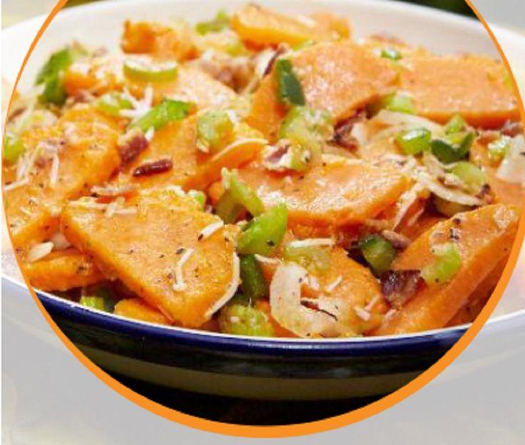 Recette :Salade aux patates douces, vinaigrette au parmesan et miel.