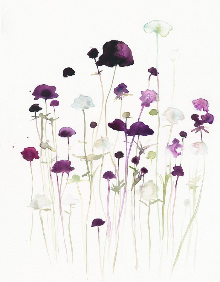 Purple and white flowers Watercolor, art, flowers