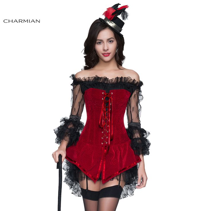 Charmian Women's Sexy Steampunk Gothic Retro Corset Dress Boned Corsets Bustiers and Black Off Shoulder Lace Dress for Christmas
