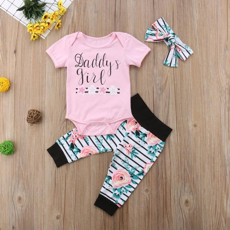 Daddy and Mommys Miracle Outfit Baby Romper TopsTrousers with Headband Hat 4 Pieces Set for Boy Girl