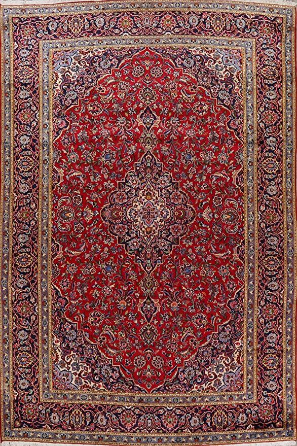 Vintage Traditional Kashan Persian Floral Red Oriental Area Rug Wool Hand Knotted Carpet 9x13 Home Décor 9 3 Wool Area Rugs Oriental Area Rugs Grey Area Rug