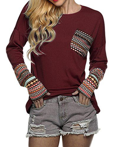 Nice POGT Women Long Sleeve O-Neck Patchwork Casual Loose T-shirt Blouse Tops