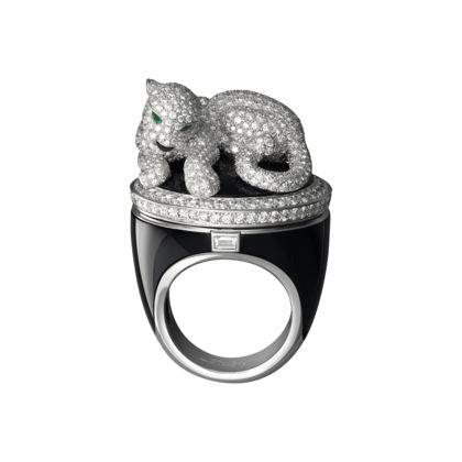 Orologio à secret su anello Panthère Quarzo, oro bianco, onici, diamanti