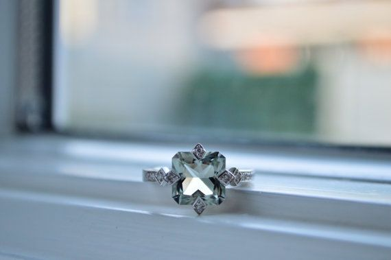 2.5ct Cushion Cut Ring  Green Amethyst Ring  Sterling by barargent, $115.00