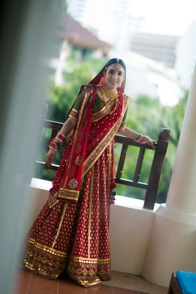 red bridal lehenga, green blouse, red and green, three quarter sleeve blouse…