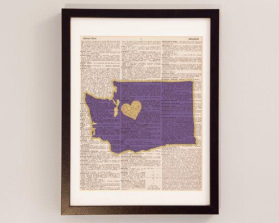 Washington Huskies Print  Seattle Art  Print on by DictionArt, $9.00