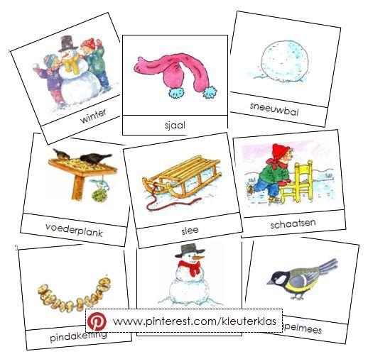 Activiteiten met woordkaarten bij het thema 'winter' (tekeningen van Dagmar Stam)