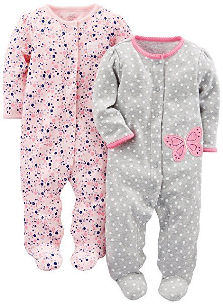 0feb0b08a875 Simple Joys by Carter s Baby Girls  2-Pack Cotton Footed Sleep and ...