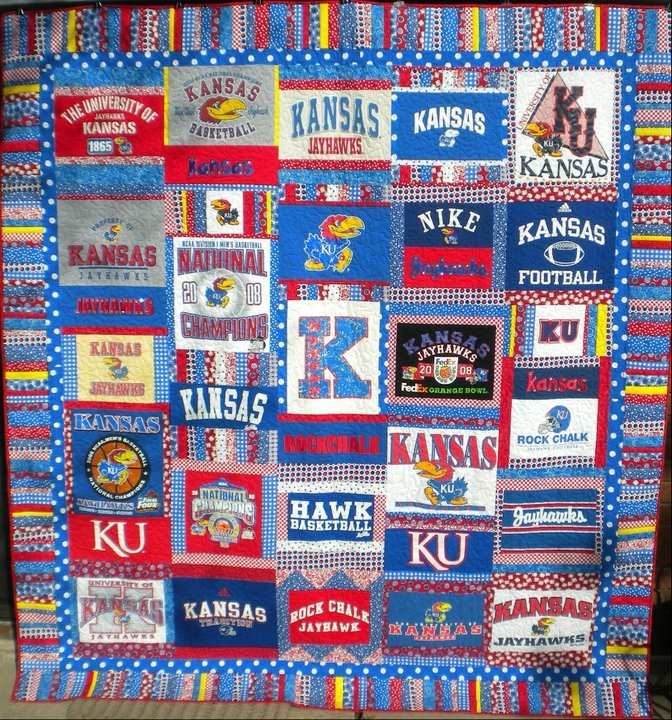 for the 100s of KU tees i have, a Jayhawk t-shirt quilt!..i want, i need, i must have.