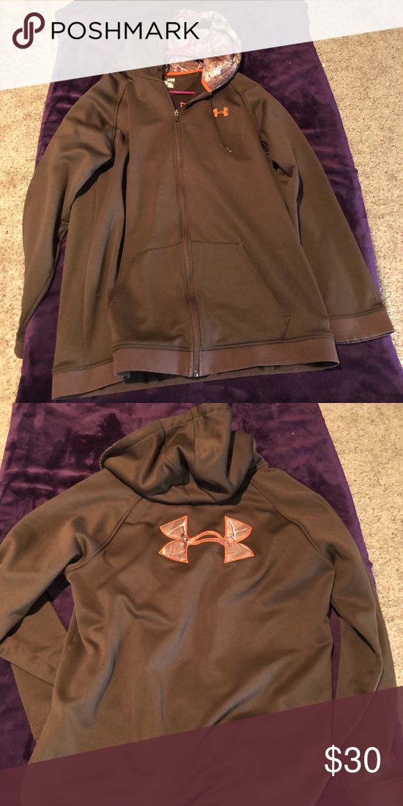 Under Armour Zip Up Hoodie Under Armour Zip Up Hoodie Brown with Camo lined hood and orange trim XL Fits long...I am 6'1 and it was a little long for me but other than that an all time favorite of mine, just too big now. Under Armour Shirts Sweatshirts & Hoodies