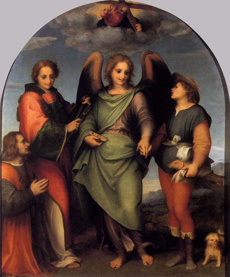 Archangel Raphael with Tobias, St. Lawrence and the Donor Leonardo di Lorenzo Morelli - Andrea del Sarto