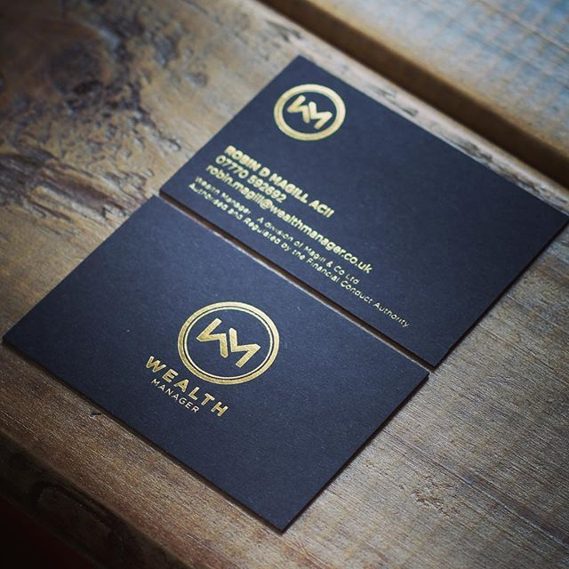 Just had delivery of the Wealth Manager business cards... Look soooo nice... 700gsm colour plan black with gold foil both sides... Yummy #businesscards #goldfoil #branding #logodesign #logospire #wearebabygiant